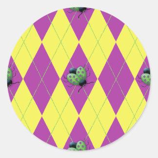 Purple & Yellow Argyle Ladybug Classic Round Sticker