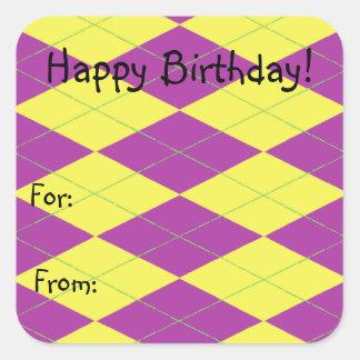 Purple & Yellow Argyle Square Sticker