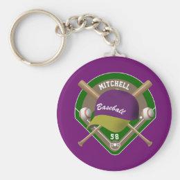 Purple |Yellow Baseball Diamond Player Name Number Keychain
