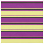 [ Thumbnail: Purple, Yellow & Black Colored Pattern of Stripes Fabric ]