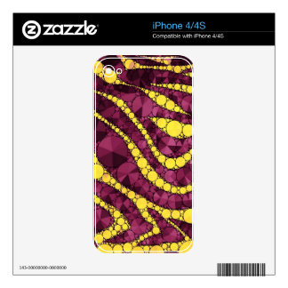 Purple Yellow Bling Zebra Skin For The iPhone 4S