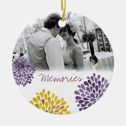 Purple & Yellow Bloom Bursts Wedding Ornament