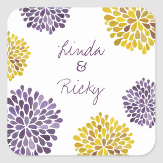 Purple Yellow Bloom Bursts Wedding Sticker Seal