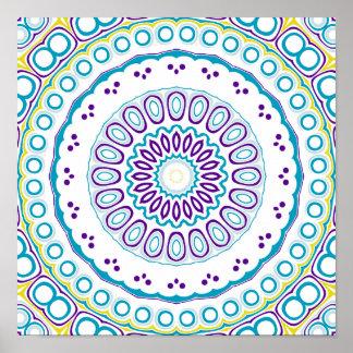 Purple, Yellow & Blue Kaleidoscope Flowers Design Poster