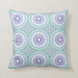 Purple, Yellow & Blue Kaleidoscope Flowers Design Throw Pillows