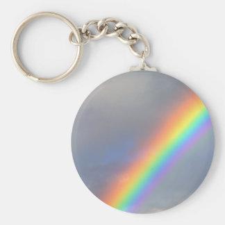 purple yellow blue red rainbow basic round button keychain