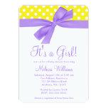 Purple Yellow Bow Polka Dot Baby Shower 5x7 Paper Invitation Card