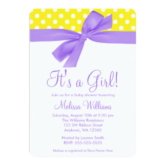Purple Yellow Bow Polka Dot Baby Shower 5x7 Paper Invitation Card