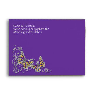 Purple yellow butterfly wedding engagement envelopes