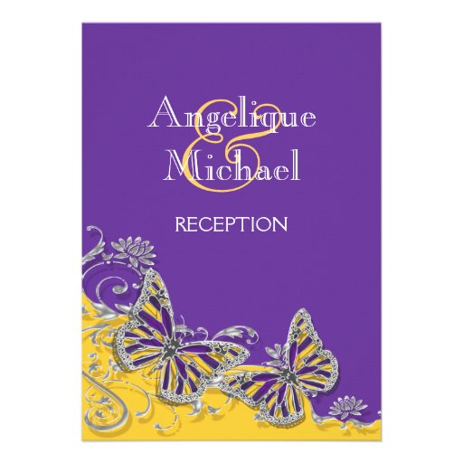 Purple Yellow Butterfly Wedding Engagement 5x7 Paper Invitation Card