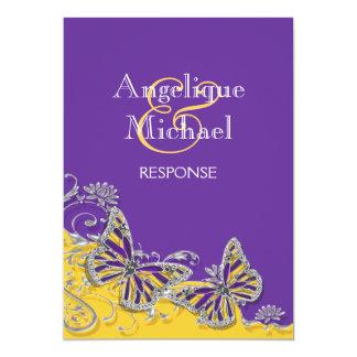Purple yellow butterfly wedding engagement custom announcement