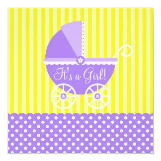 Purple Yellow Carriage Dots Girl Baby Shower Card