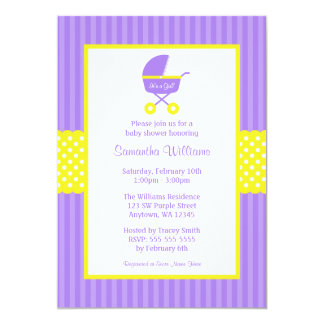 Purple Yellow Carriage Striped Dots Baby Shower Invitation