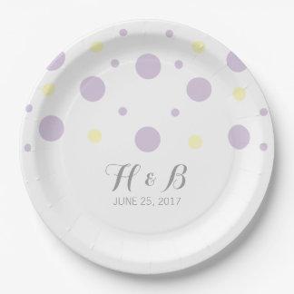 Purple Yellow Confetti Wedding Paper Plates 9 Inch Paper Plate