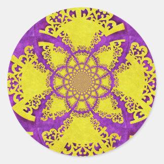 Purple Yellow Crazy Pattern Fractal Art Round Stickers