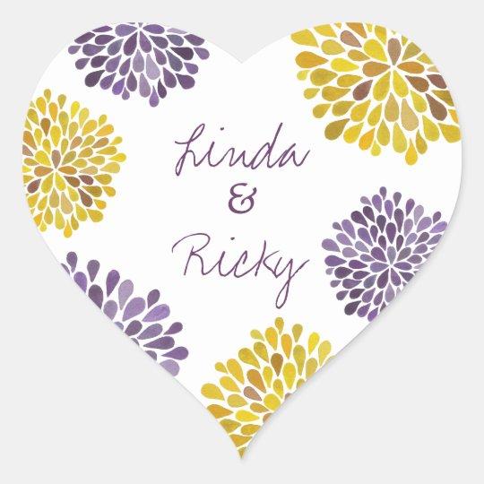 Purple & Yellow Dahlia Flowers Wedding Sticker