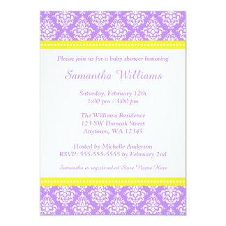 Purple Yellow Damask Girl Baby Shower 5x7 Paper Invitation Card