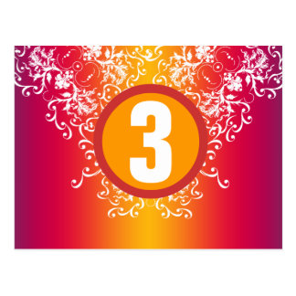 Purple + Yellow Damask Table Number Card