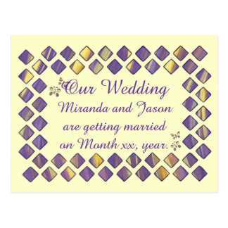 Purple Yellow Diamonds Butterflies Invite Postcard