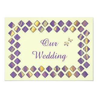 "Purple Yellow Diamonds Butterflies Wedding Invites 5"" X 7"" Invitation Card"