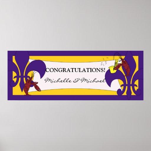 Purple Yellow Fleur de Lis Crawfish Party Banner Print