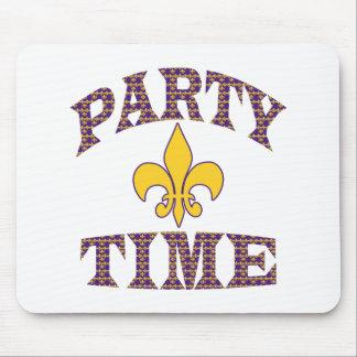 Purple Yellow Fleur de Lis Party Time Mouse Pad