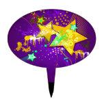 Purple & Yellow Floral Grunge Stars & Splats Cake Pick