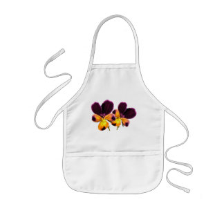 Purple Yellow Floral Johnny Jump Up Flower Apron