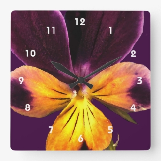 Purple Yellow Flower Abstract Floral Clock