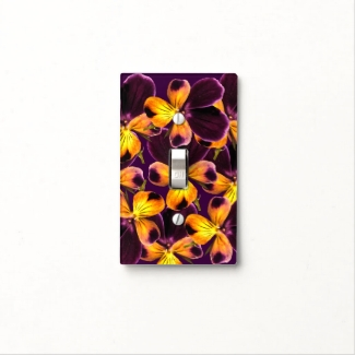 Purple Yellow Flower Abstract Light Switch Cover