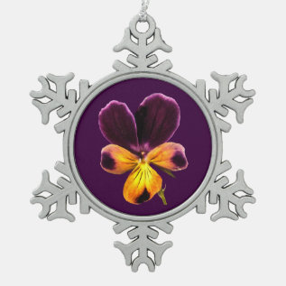 Purple Yellow Flower Pewter Snowflake Ornament at Zazzle