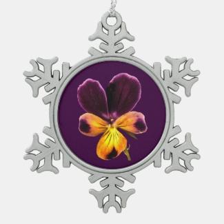 Purple Yellow Flower Pewter Snowflake Ornament