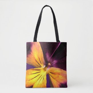 Purple Yellow Garden Flower Abstract Tote Bag