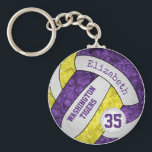 "purple yellow girls&#39; volleyball keychain team name<br><div class=""desc"">This purple, yellow and white volleyball keychain can be personalized with her team&#39;s name and features a floral kaleidoscopic pattern blended with the blue and orange volleyball panels and an artsy abstract swirl pattern blended with the white panels - her name is customizable, as is her jersey number on a...</div>"