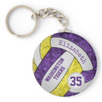 purple yellow girls' volleyball keychain team name