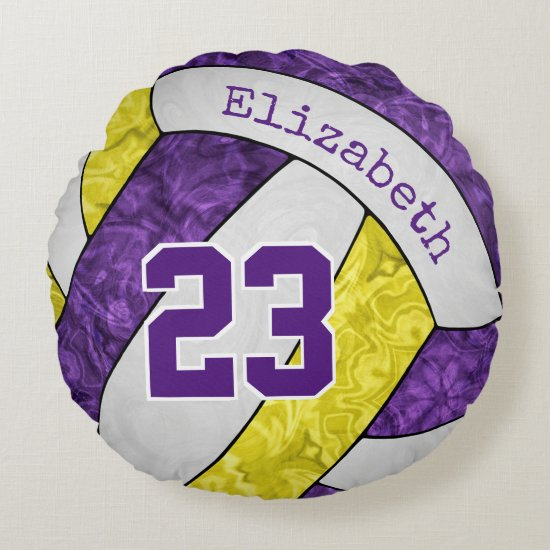 purple yellow girly volleyball personalized round pillow