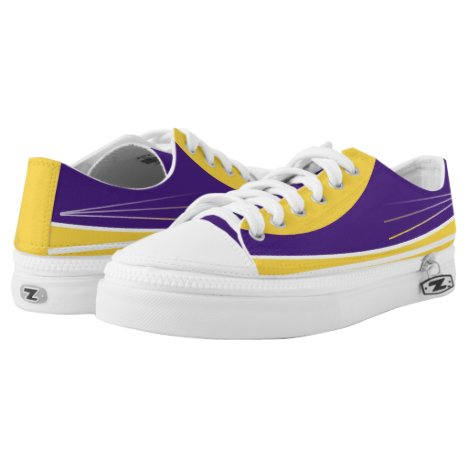 Purple Yellow-Gold and White Tres Zipz Lo-Tops