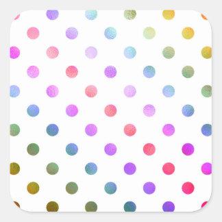 Purple Yellow Gold Rainbow Metallic Faux Foil Square Sticker