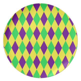 Purple Yellow Green Harlequin Pattern Party Plate