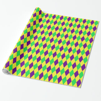 Purple Yellow Green Harlequin Pattern Wrapping Paper