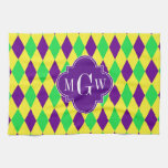 Purple Yellow Green Harlequin Purp Quat 3 Monogram Towels