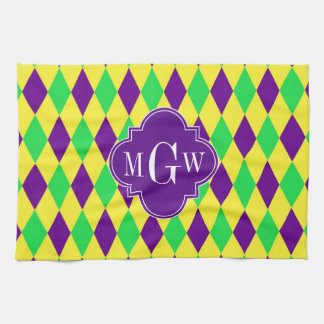 Purple Yellow Green Harlequin Purp Quat 3 Monogram Kitchen Towel