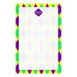 Purple Yellow Green Harlequin Purp Quat 3 Monogram Custom Stationery