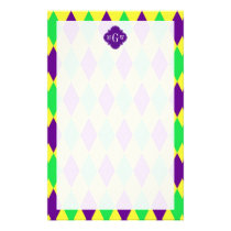 Purple Yellow Green Harlequin Purp Quat 3 Monogram Stationery
