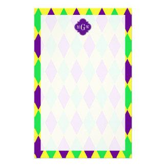 Purple Yellow Green Harlequin Purp Quat 3 Monogram Stationery