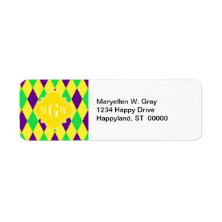 Purple Yellow Green Harlequin Ylo Quat 3 Monogram Custom Return Address Label