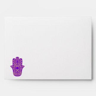 Purple Yellow Hamsa-Hand of Miriam-Hand of Fatima. Envelopes