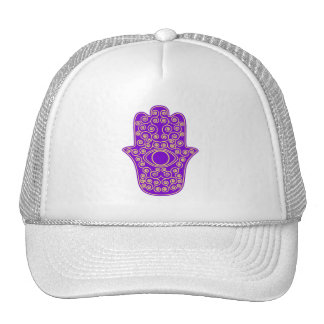 Purple Yellow Hamsa-Hand of Miriam-Hand of Fatima Trucker Hats