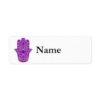 Purple Yellow Hamsa-Hand of Miriam-Hand of Fatima. Custom Return Address Labels
