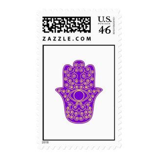 Purple Yellow Hamsa-Hand of Miriam-Hand of Fatima. Stamps